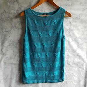 Talbots L knitted sleeveless sweater turquoise